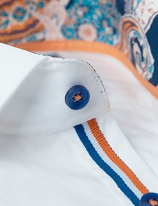 Men's Curtis White Plain Relaxed Slim Fit Shirt with Paisley Contrast Detail - Low Collar - Single Cuff