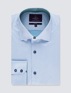 Men's Curtis Blue Relaxed Slim Fit Shirt with Contrast Detail – Low Collar