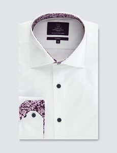Men's Curtis White Relaxed Slim Fit Shirt with Contrast Detail – Low Collar