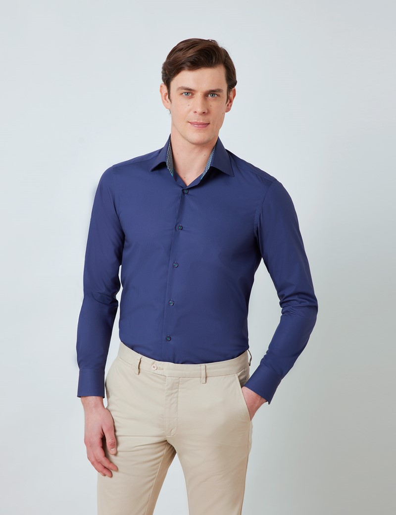 Men's Curtis Navy Relaxed Slim Fit Shirt with Contrast Detail – Low Collar