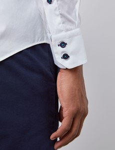 Men's Curtis White Cotton Poplin Slim Fit Shirt With Contrast Detail - Single Cuff