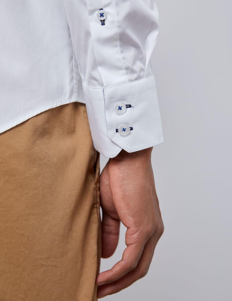 Casualhemd – Slim Fit – Kentkragen – Popeline weiß mit Kontrasten