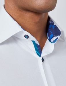 Men's Curtis White Cotton Poplin Slim Fit Shirt With Floral Detail - Single Cuff
