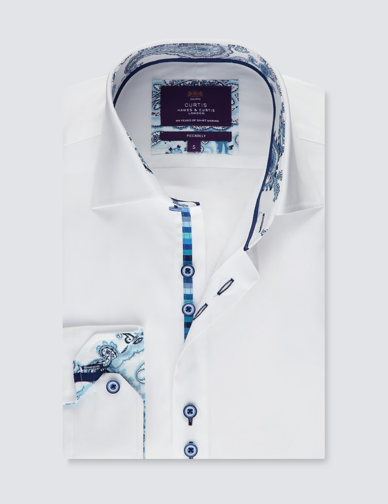 Men's Curtis Plain White Piccadilly Stretch Slim Fit Shirt - Low Collar - Single Cuff