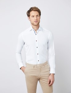 Men's Curtis Plain White Contrast Stretch Slim Fit Shirt - Low Collar - Single Cuff