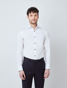 Men's Curtis White Relaxed Slim Fit Shirt With Contrast Details - Low Collar