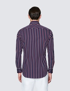 Men's Curtis Navy and Red Stripe Slim Fit Cotton Shirt - Low Collar