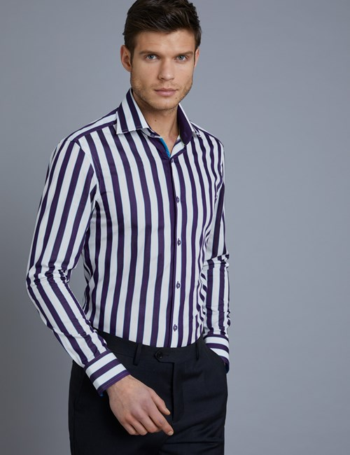 Men's Curtis Purple & White Stripe Slim Fit Shirt with Contrast Detail - Single Cuff