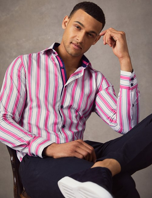 Men's Curtis Cream & Pink Bold Stripe Slim Fit Shirt - Single Cuff