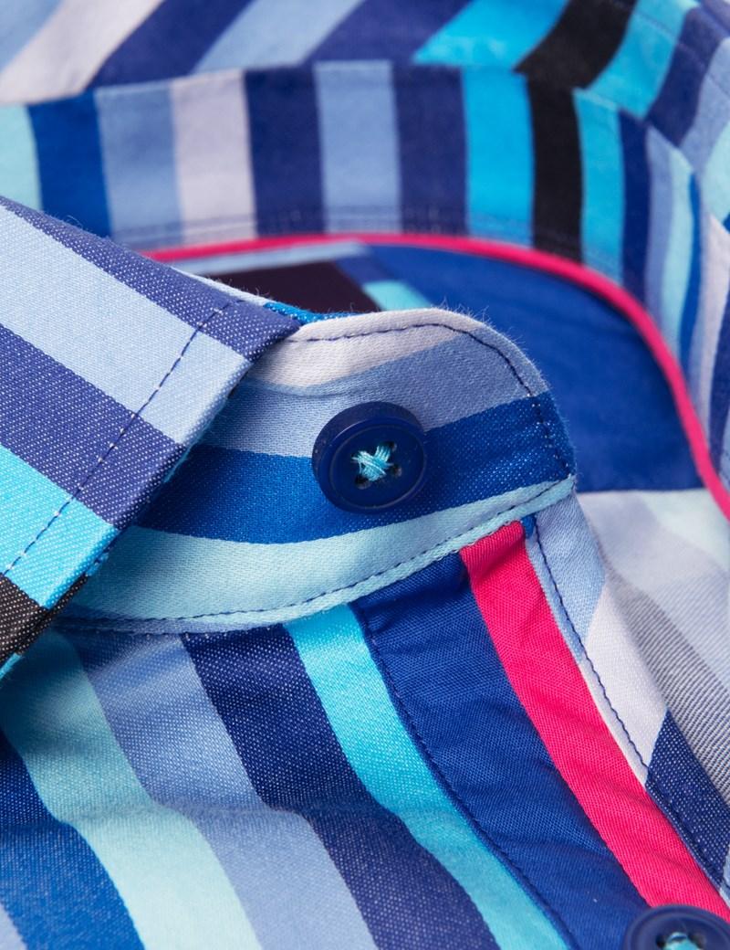Men's Curtis Blue & Purple Bold Stripe Slim Fit Shirt - Single Cuff