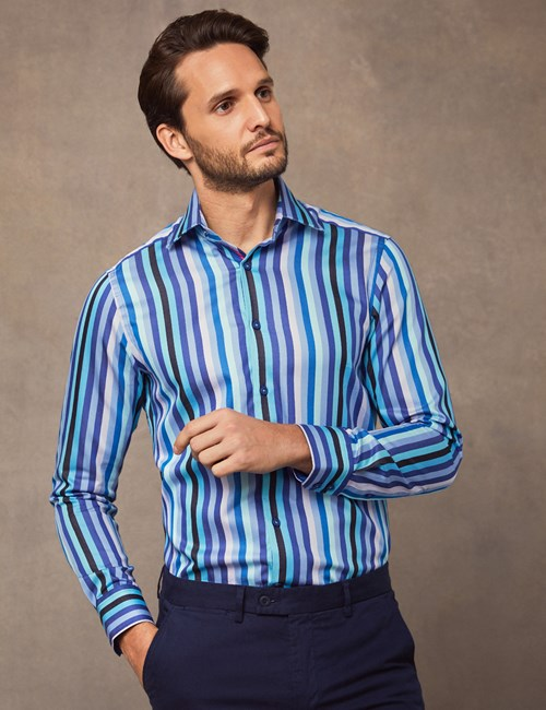 Men's Curtis Blue & Purple Bold Stripe Slim Fit Shirt - Single Cuff