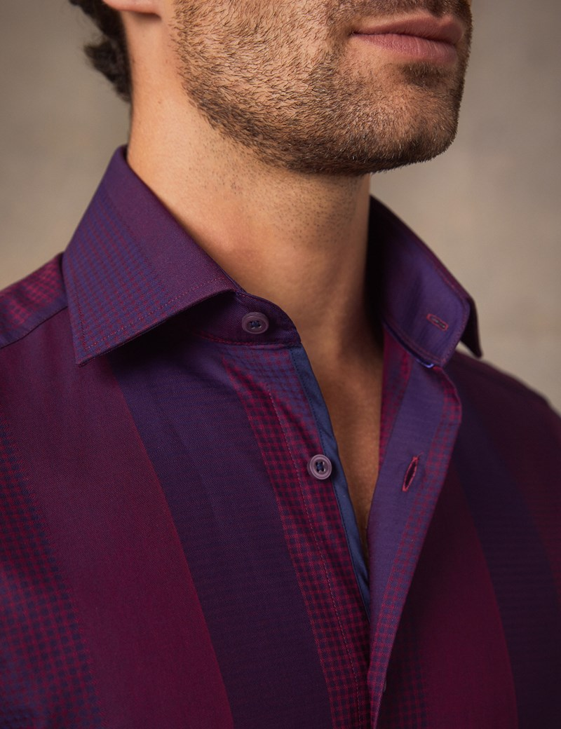 Men's Curtis Purple & Wine Jacquard Check Slim Fit Shirt - Single Cuff