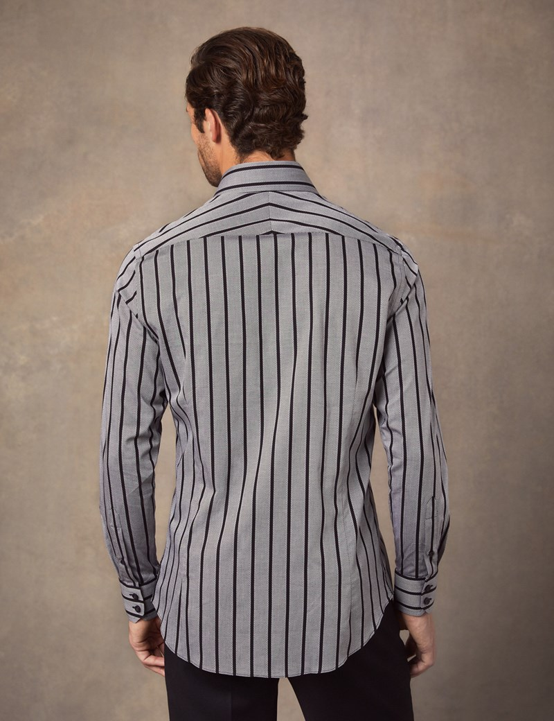 Men's Curtis Black & Grey Bold Stripe Slim Fit Shirt - Single Cuff