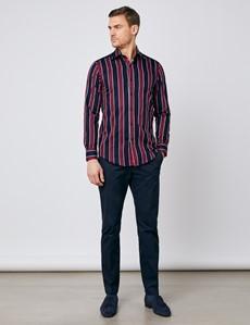 Men's Curtis Navy & Red Multi Stripe Slim Fit Shirt - Single Cuff