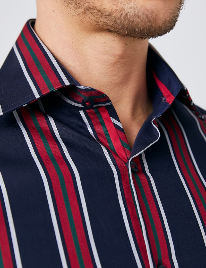 Men's Curtis Navy & Red Multi Stripe Slim Fit Shirt - Single Cuff