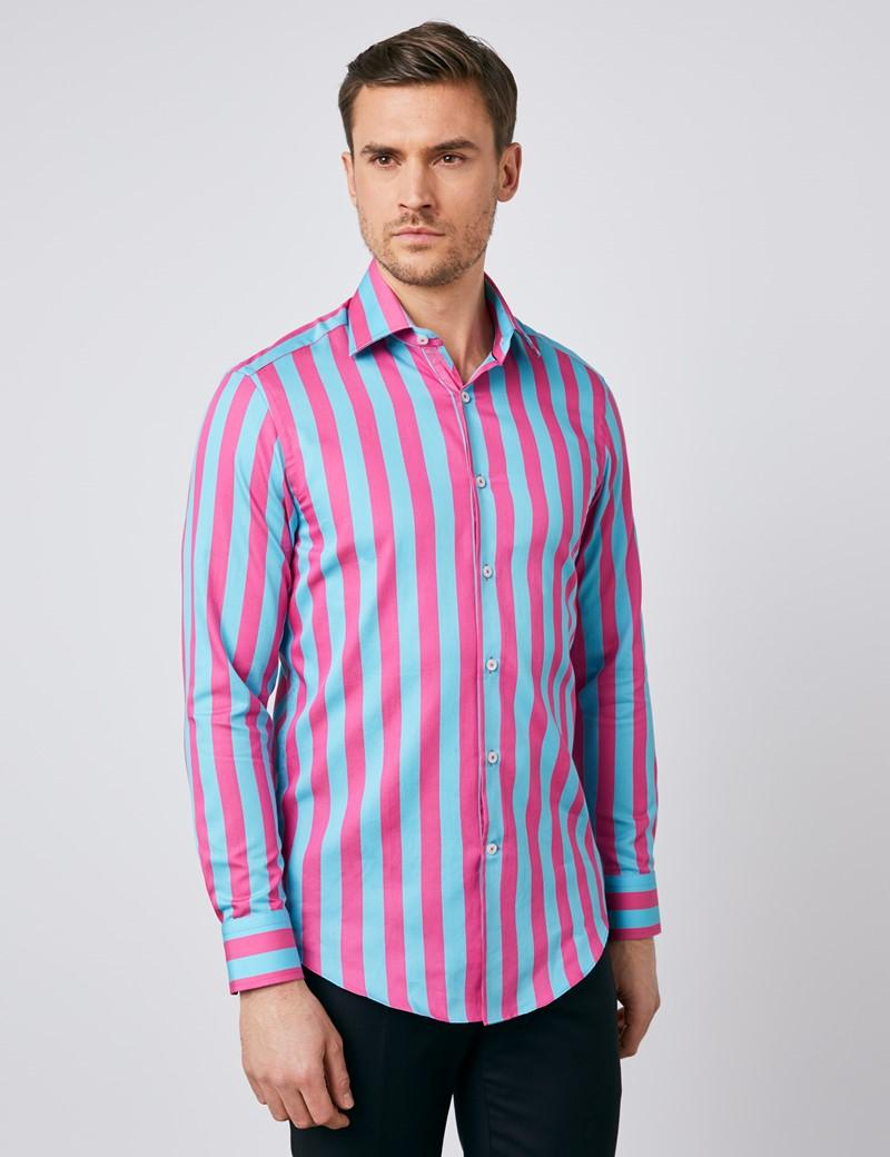 Men's Curtis Turquoise & Fuchsia Bold Stripe Slim Fit Shirt - Single Cuff
