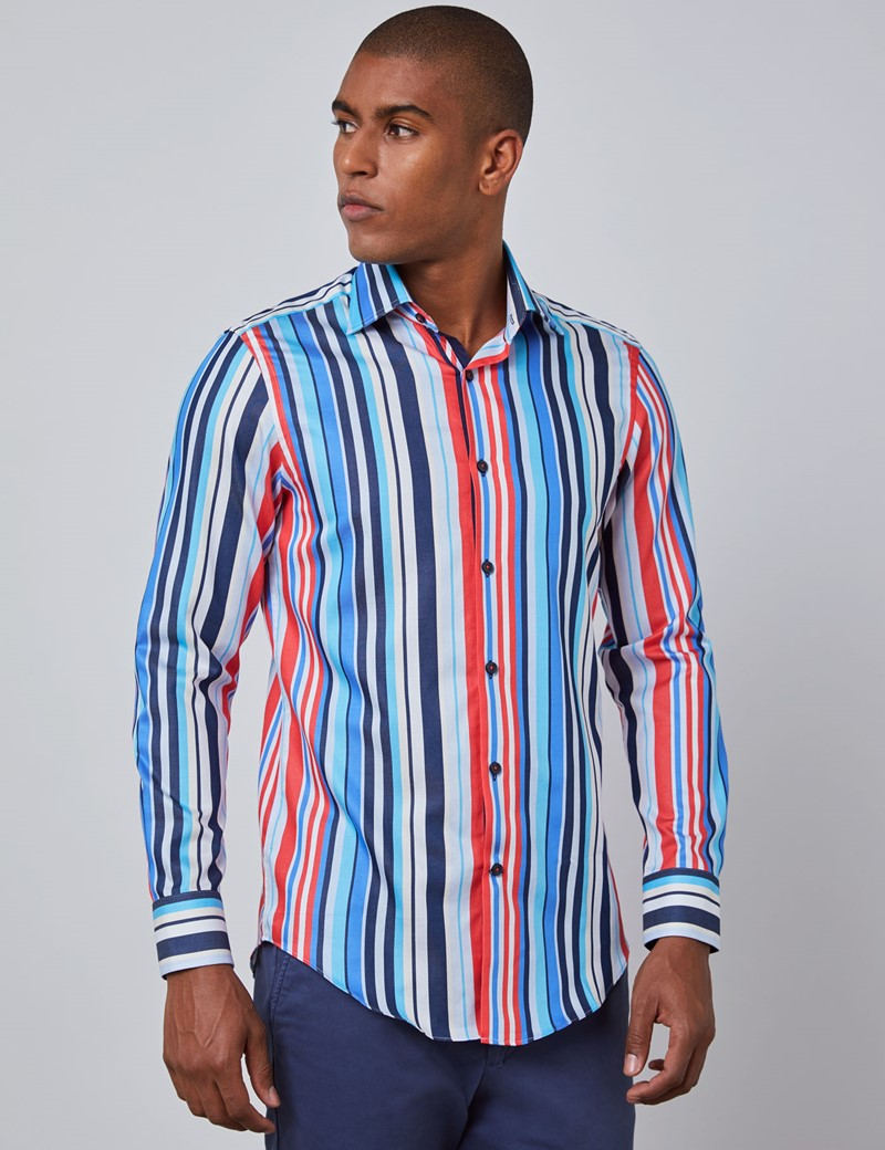 Men's Curtis Navy & Red Stripe Slim Fit Shirt - Single Cuff