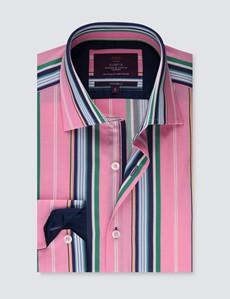 Casualhemd – Relaxed Slim Fit – Kentkragen – rosa Barcodestripe