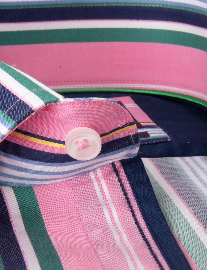 Men's Curtis Pink & Blue Stripe Slim Fit Shirt - Low Collar - Single Cuff