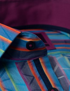 Men's Curtis Blue & Orange Jacquard Multi Stripes Relaxed Slim Fit Shirt - Low Collar - Single Cuff
