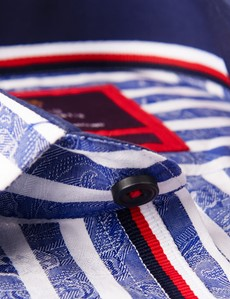 Men's Curtis Blue & White Stripe Relaxed Slim Fit Shirt - Low Collar