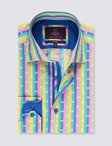 Men's Curtis Green & Yellow Multi Stripes Relaxed Slim Fit Shirt - Low Collar