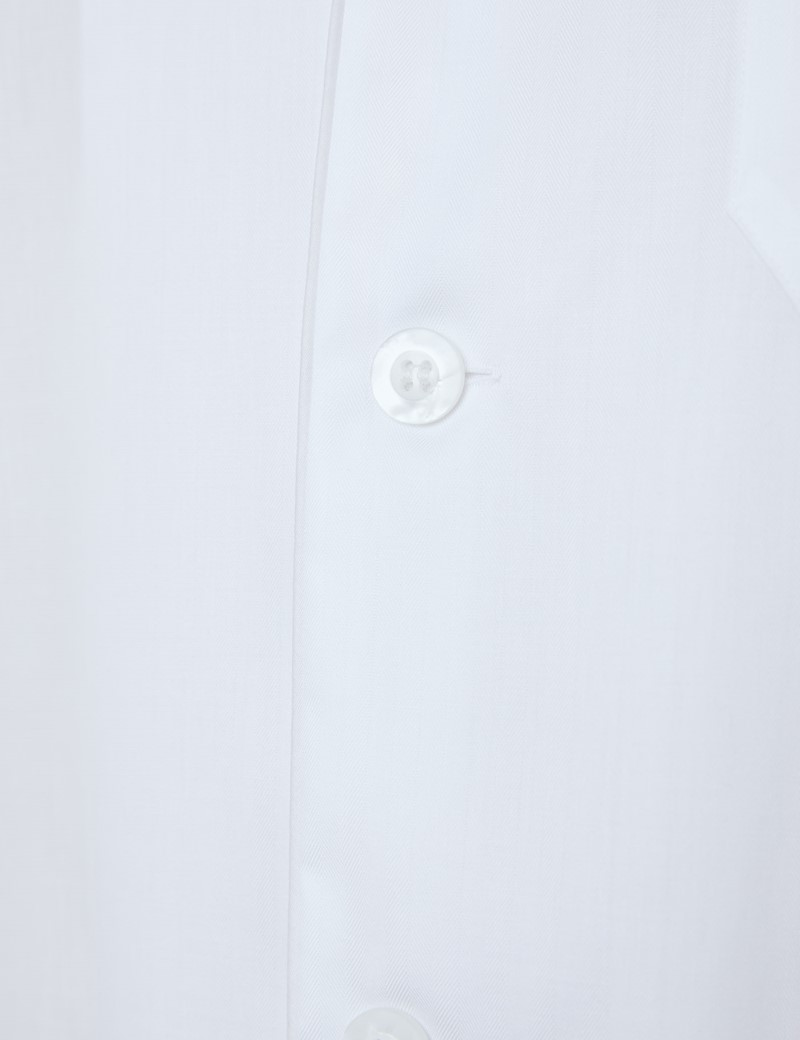Men's White Herringbone Cotton Pyjamas