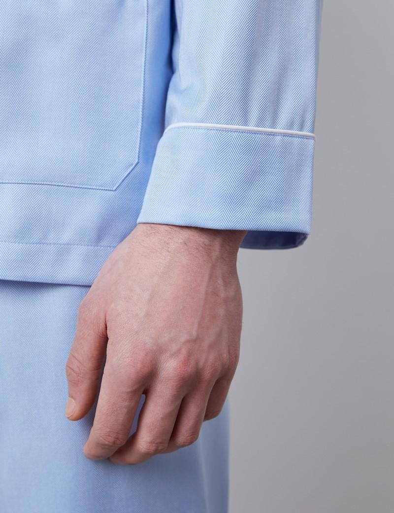Men's Blue Herringbone Cotton Pyjamas