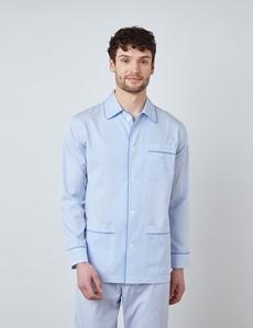 Herren Pyjama Schlafanzug – Baumwolle – blau weiß gestreift