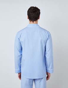 Men's Blue & White Stripe Cotton Pyjamas
