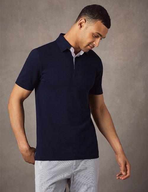 Men's Navy Mercerised Pique Cotton Polo Shirt - Short Sleeve