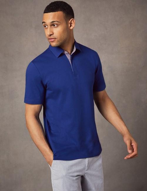 Men's Dark Blue Mercerised Pique Cotton Polo Shirt - Short Sleeve