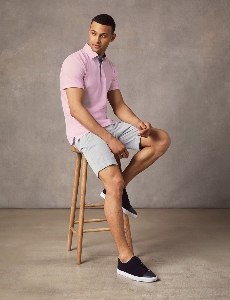 5ceef918f848 Men's Light Pink Mercerised Pique Cotton Polo Shirt - Short Sleeve | Hawes  and Curtis