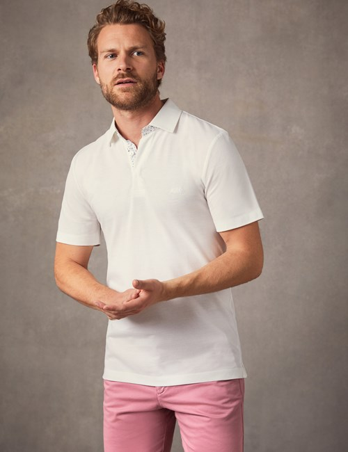 Men's White Mercerised Pique Cotton Polo Shirt - Short Sleeve