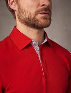 Polohemd – Regular Fit – Piqué – Rot mit Logo & Kontrasten