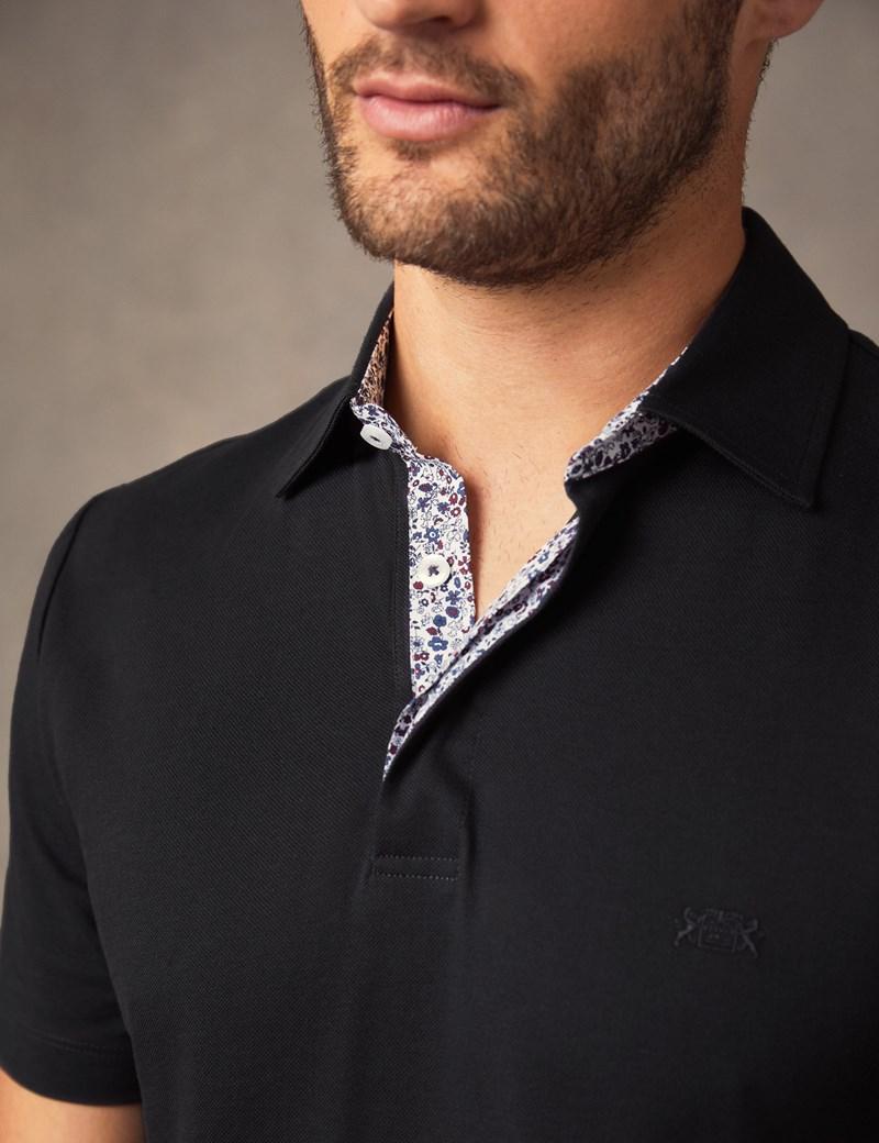 Men's Grey Mercerised Pique Cotton Polo Shirt - Short Sleeve