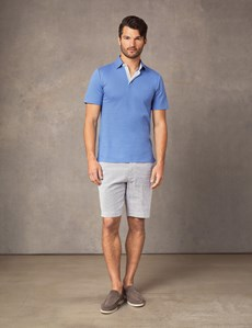 Men's Blue Mercerised Pique Cotton Polo Shirt - Short Sleeve