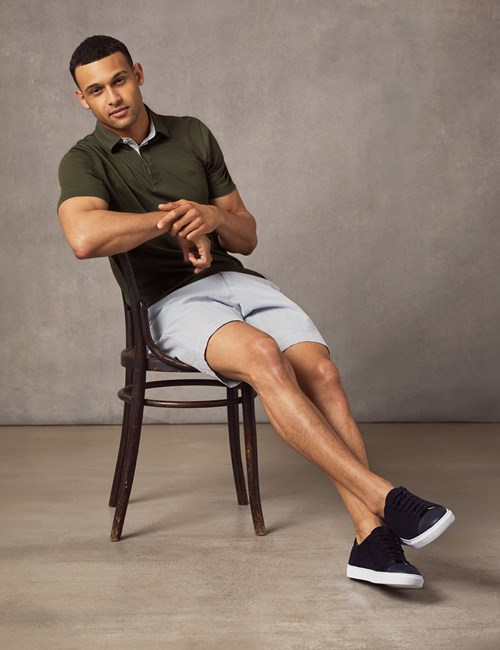 Men's Olive Mercerised Pique Cotton Polo Shirt - Short Sleeve