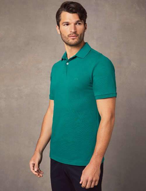Men's Jade Mercerised Pique Cotton Polo Shirt With Ribbed Collar - Short Sleeve