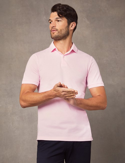 Men's Light Pink Mercerised Pique Cotton Polo Shirt With Ribbed Collar - Short Sleeve