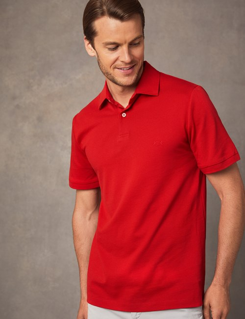 Polohemd – Regular Fit – Piqué – Rot mit Logo