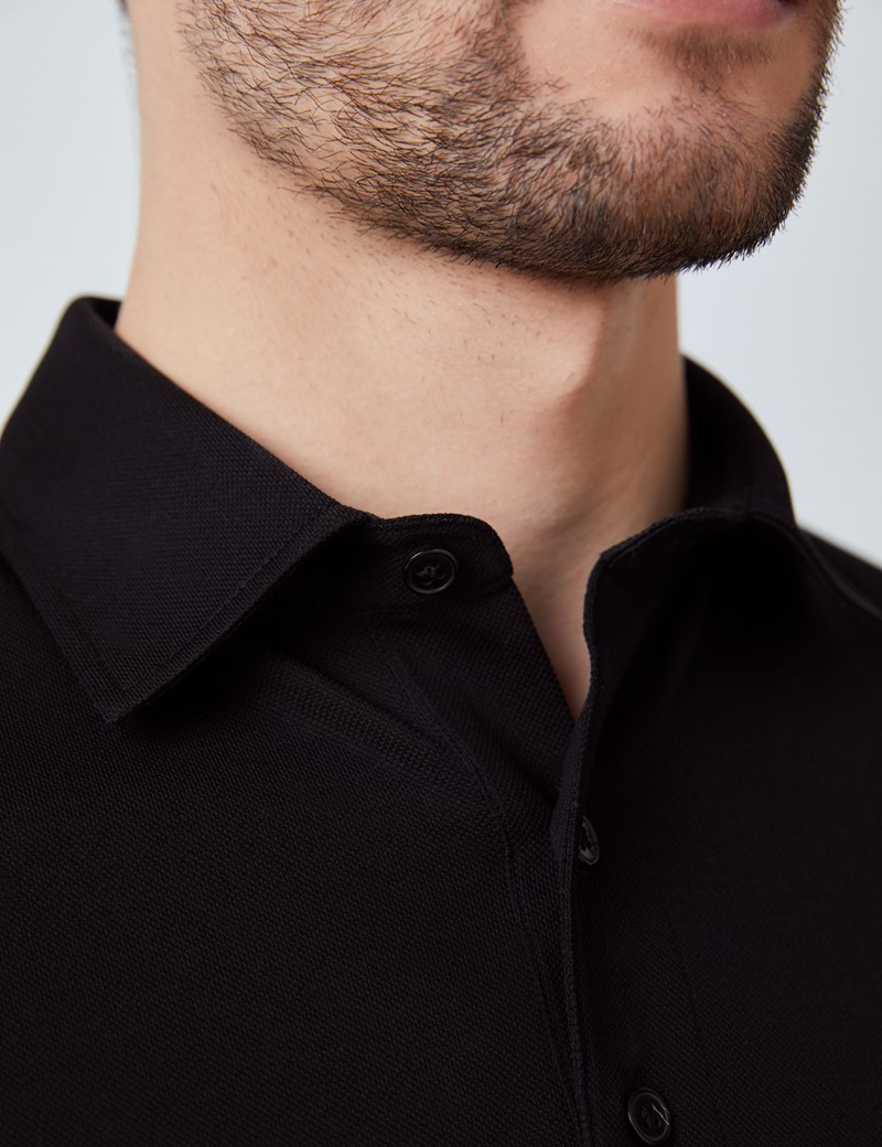 Black Mercerised Egyptian Cotton Pique Short Sleeve Polo Shirt