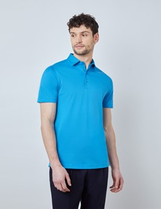 Cornflower Mercerised Egyptian Cotton Pique Short Sleeve Polo Shirt