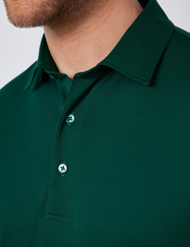 Green Mercerised Egyptian Cotton Pique Short Sleeve Polo Shirt