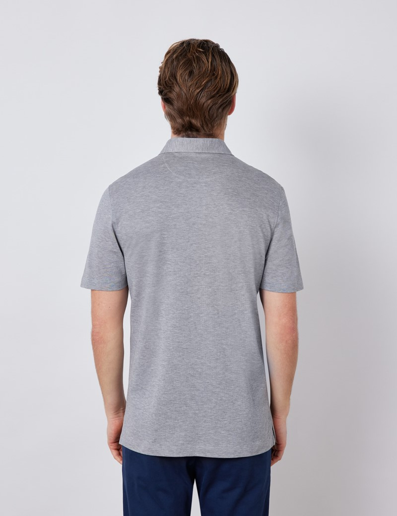 Grey Mercerised Egyptian Cotton Pique Short Sleeve Polo Shirt