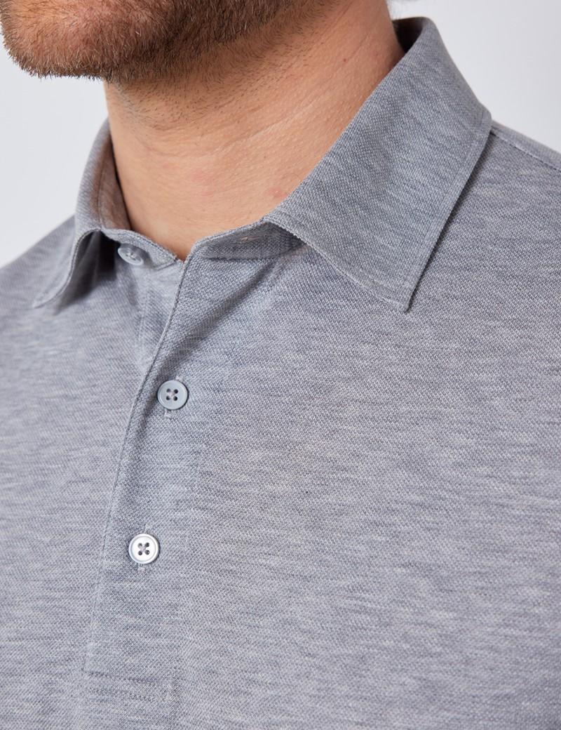 Grey Mercerised Egyptian Cotton Pique Short Sleeve Polo Shirt