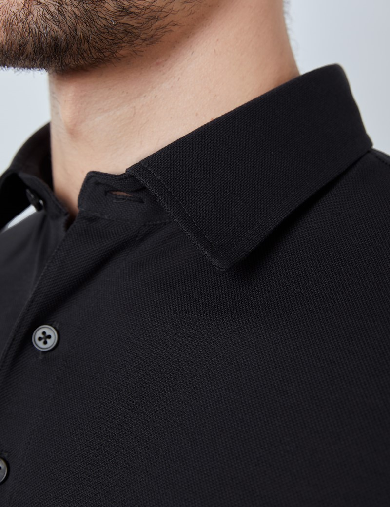 Charcoal Mercerised Egyptian Cotton Pique Short Sleeve Polo Shirt