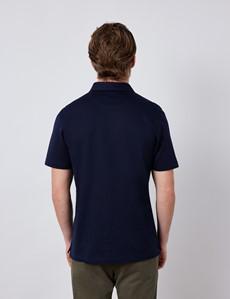 Navy Mercerised Egyptian Cotton Pique Short Sleeve Polo Shirt
