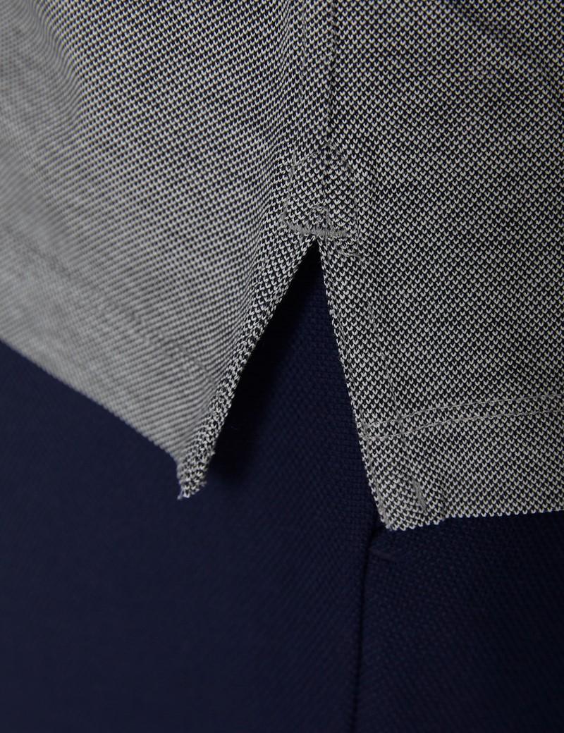 Navy & White Mercerised Egyptian Cotton Pique Short Sleeve Polo Shirt
