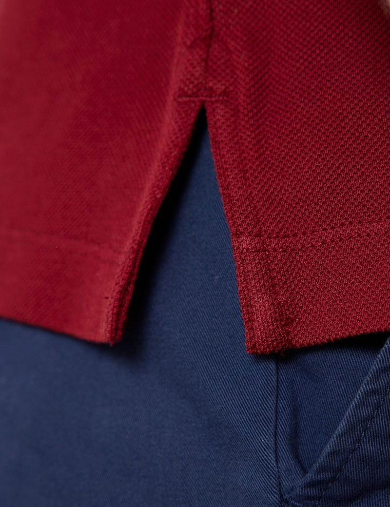 Kurzarm Poloshirt – Ägyptische Baumwolle – Dunkelrot Piqué